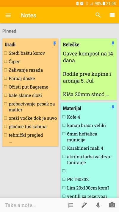 Beleške u Google Keep